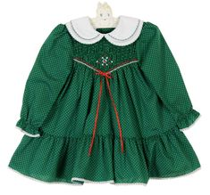 NEW Polly Flinders Green Dotted Smocked Dress with Double White Collar Smocked Baby Dresses, Toddler Girl Dresses, Girls Dresses, Thanksgiving Baby Outfits, Holiday Dresses, Christmas Dresses, Green Dot, Smock Dress, Lovely Dresses