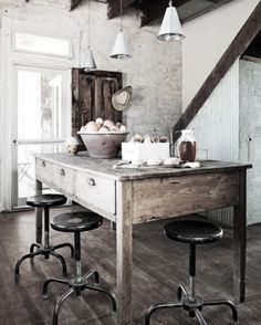 Love all the years of wear. Check out the dip in the top planks hand made rustic wood stools and tables at www.worldsendny.com