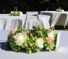 Looks romantic and vintage! Flower Arranging Ideas - Spring Flowers - Hydrangea Centerpiece