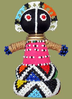 African Ndebele Dolls, African Beadwork are hand made by the Ndebele Tribe of South Africa. These African Dolls are made in an image of The Ndebele traditional dress code with beading techniques and African patterns unique to their tribe. African Dolls, African Art, African Crafts, Expressive Art, African Design, Polymer Clay Art, Tribal Art, Fabric Dolls, Beautiful Dolls