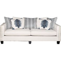 """""""Torey"""" 96"""" Sand Upholstered Sofa  $800  40"""" depth on the seat, couldn't touch the ground and lean back."""