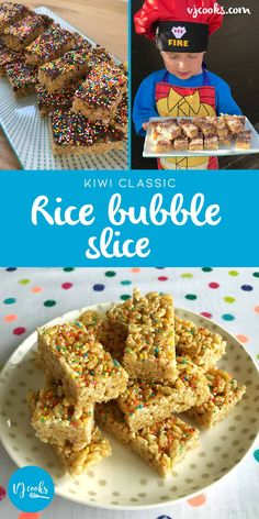 Easy and delicious Rice Bubble Slice - Ricies honey slice - VJ cooks Rice Bubble Cake, Rice Bubble Recipes, Rice Bubble Slice, Rice Recipes, Healthy Slice, Healthy Food, No Bake Slices, Classic Rice, Honey Sauce