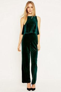 Urban Renewal Vintage Remnants Green Velvet Jumpsuit - Urban Outfitters