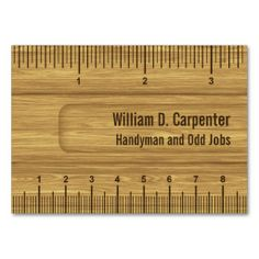 Handyman business card samples free business cards card templates wooden ruler or rule tradesman business card accmission Gallery