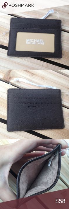 """Michael Kors Brown Card / ID Holder Wallet Dark brown (not black!) card/ID holder. Never used. Pretty close to the """"coffee"""" brown color, maybe just a hair darker. Saffiano leather. Hard to find this color! Michael Kors Bags Wallets"""