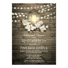 #Rustic Wood Floral Lantern Lights Rehearsal Dinner Card - rehearsal dinner invitations #rehearsal #dinner #invitations #weddinginvitations #wedding #invitations #party #card #cards #invitation #rehearsaldinner