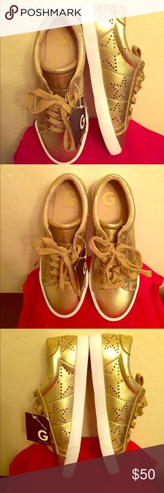 🆕 G by Guess Gold Sneakers Authentic G by Guess Gold Sneakers. Metallic Faux Leather with Perforated Stars on the Sides & Back. Textile Lining with G by Guess Logo inside. Logo is on the Backs too. Lightly Cushioned Footbed. Gold Strings. Leather Soles. Brand New. Excellent Condition. No Trades. G by Guess Shoes Sneakers