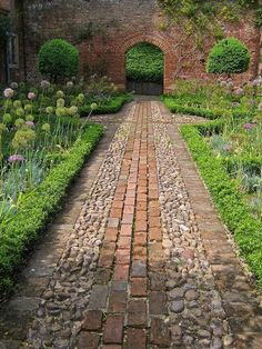 Greys Court walled garden, stone and brick path. The National Trust