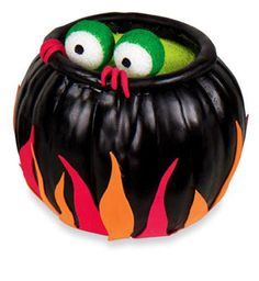 Halloween Cauldron made from Styrofoam pumpkin. Supply list and directions can be found on Michaels.com