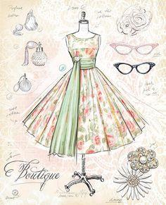 Vintage Labels Art Print: Vintage Boutique by Chad Barrett : - Vintage Labels, Vintage Cards, Vintage Paper, Vintage Sewing, Vintage Prints, Vintage Posters, Chad Barrett, Retro, Woman Cave