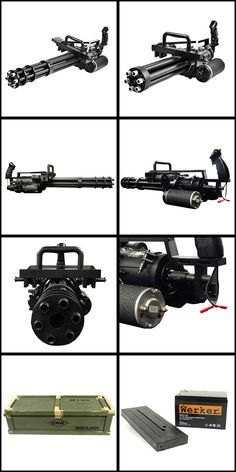 Electric Gatling Style Minigun Airsoft Gun - Total over kill but awesome Airsoft Gear, Fire Powers, Big Guns, Military Weapons, Guns And Ammo, Paintball, Shotgun, Legos, Firearms