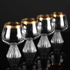 4 Cognacgläser Schott Zwiesel Kristall Goldrand Naab Heinrich Löffelhardt 60er F