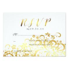 Gold Flourishing Floral Modern Wedding RSVP Card - gold wedding gifts customize marriage diy unique golden