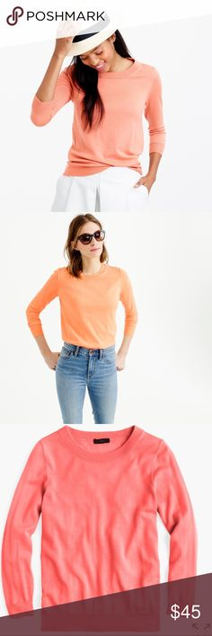 J. Crew • Summer peach tippi sweater 🍑 J. Crew bright coral/salmon peach tippi sweater. Size XS. Perfect for all seasons! EUC. J. Crew Sweaters