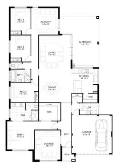 Amazing just enough open plan living with still enough private cosy spaces. Would remove the wall between activity room and living room and replace with oversized barn door. Open Floor House Plans, Porch House Plans, 4 Bedroom House Plans, Basement House Plans, Lake House Plans, Home Design Floor Plans, Bungalow House Plans, Craftsman Style House Plans, Dream House Plans