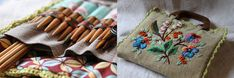 Hand-embroidered knitting needle case with wooden handles and crocheted edging
