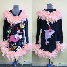 7b98b5bb403 3-D Pink Flamingo Tacky Ugly Christmas Tropical Delight Christmas Sweater  Dress