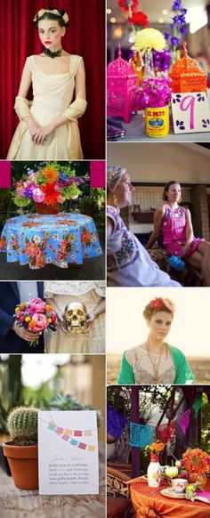 I like the idea of using Mexican food cans of varying sizes to hold flowers!    Mexican decor frida inspired yep!
