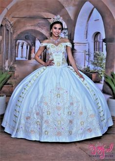 Pearl Charra Dress with Train - Yersq Sites Turquoise Quinceanera Dresses, Mexican Quinceanera Dresses, Quinceanera Cakes, Ball Gown Dresses, 15 Dresses, Pretty Dresses, Simple Dresses, Quince Dresses Mexican, Evening Gowns