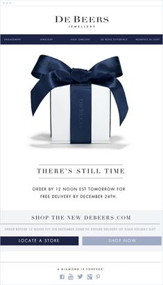 De Beers is known around the world for creating the finest diamond engagement rings, wedding rings, and other elegant diamond jewelry. This De Beers email campaign offered their customers one more day to buy in time for Christmas delivery, making holiday E-mail Marketing, Marketing Campaign Examples, Email Marketing Design, Email Marketing Campaign, Marketing Ideas, Email Christmas Cards, Christmas Newsletter, Holiday Emails, Graphic Design Magazine