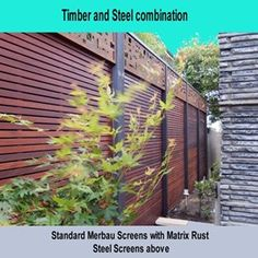 Merbau Screen with Metal Matrix Fence Extender 3 Merbau Decking, Back Deck, Entrance Gates, Fence, Outdoor Structures, Contemporary Gardens, Gallery, Metal, Ideas