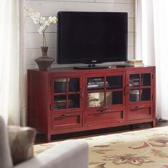 Sausalito Large Tv Stand Antique Red