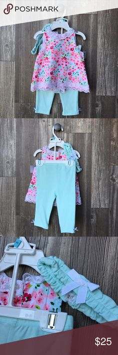 ✨HP✨NWT Little Me Matching Set NWT Little Me Matching Set Size 6M! The cutest floral top with lace on the trim and mint leggings with little bows on the sides. ✨HOST PICK 8/6/17✨ Little Me Matching Sets
