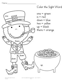 Preschool or Kindergarten Reading or Writing Activity -Free Color by letter/Color by Sight Word Worksheet for St. Patrick's Day!  Do a little Jig!