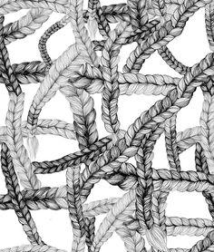 Upea palmikkokuvioinen kangas, design by Maija Louekari. Materiaali joustocollege (290g, 96%co/4%el), musta-valkoinen. Kankaan leveys 160cm.   1kpl =0,10m  2kpl=0,20m   10kpl=1m jne