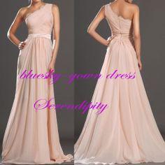 One-shoulder long Evening Ball Gowns Formal Prom Wedding Bridesmaid Dress Custom