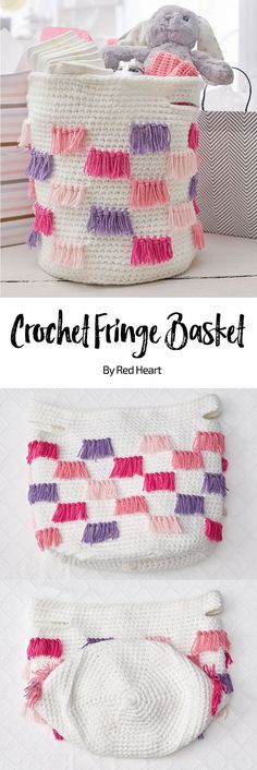 Crochet Fringe Basket free crochet pattern in Bunches of Hugs yarn. Give a gift package in a crochet basket that will help organize baby's things for many years! Holding multiple strands together makes the basket sturdier. And using a multi-color for the fringe means that the colors coordinate effortlessly. #babyyarn #crochetbasket