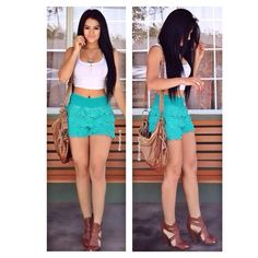 Top: Fashion Q  Shorts: Fashion Q but you can also find them at Ross  Necklace & Rings: Charlotte Russe Shoes: @ajshoetique   Love this outfit Mpalafox15 ♡