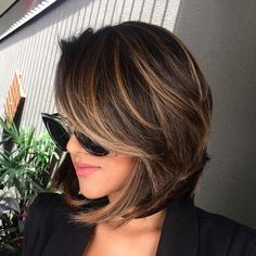 Brown Balayage Bob With Side Bangs                                                                                                                                                                                 More