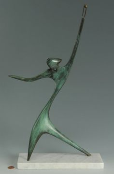 abstract female Bronze Sculpture | 36: Victor Halvani Abstract bronze sculpture, David Wit : Lot 36