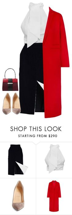 """""""Untitled #864"""" by haifaf9 ❤ liked on Polyvore featuring Christian Louboutin, Maje and Prada"""