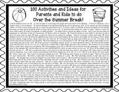 No Summer Slide! Summer Activity Sheet