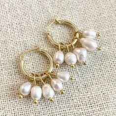 For the Freya Rose Mini Hoops with Detachable Pearls Mini Hoop Earrings, Pearl Earrings, Cluster Earrings, Silver Hoop Earrings, Kate Middleton Earrings, Princess Kate, Pearls, White Freshwater Pearl, Sterling Silver Hoops