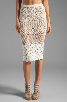 Spell & The Gypsy Collective Coconut Crochet Skirt em Branco