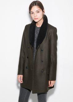 Flap wool-blend coat - Women | MANGO