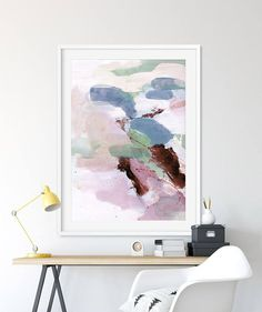 A Large abstract in light pink and blue and pale purple. Printable Abstract Painting. Titled Rosa 2  This is a Printable High-res JPEG. Carefully Hand-painted using acrylics on paper. Signed.  You can print this artwork bigger is you want to. It is high quality.   ITEM DETAILS  Super