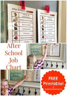 After School Job Chart - Free Printable School Job Chart, School Jobs, After School, Chore Chart Kids, Chore Charts, Behavior Charts, Charts For Kids, Kids Behavior, Raising Kids
