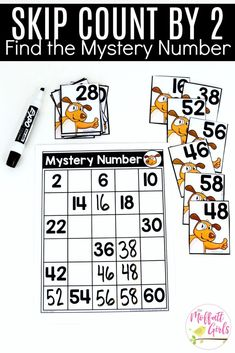 Mystery Numbers (Skip Count by from This fun Grade Math activity helps students count numbers up to 120 in a hands-on way! First Grade Classroom, 1st Grade Math, Kindergarten Math, Teaching Math, Grade 1, Counting To 120, Skip Counting Activities, Math Activities, Math For Kids