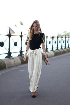 Palazzo Pants Fashion Trends 2015 For Girls Fashion Moda, Fashion Pants, Love Fashion, Womens Fashion, Fashion Trends, Looks Chic, Looks Style, Blazer En Tweed, Street Chic