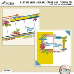 Playing With Journal Cards #01 | Templates by Akizo Designs. Now on sale at 30% off at The Digichick.. Includes the PSD, PNG, TIFF and Page file formats