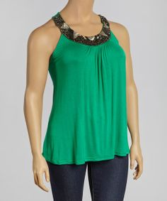 Take a look at the Kelly Green Beaded Yoke Top - Plus on #zulily today!