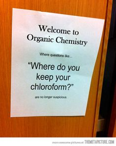 "Geek Humor ~ ""Does this smell like chloroform to you?"" <<----- actually, if you can smell it, you are using too much and could possibly asphyxiate."