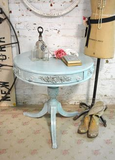 French Shabby Chic Decor | RESERVEPatriciaPainted Cottage Chic Shabby Aqua by paintedcottages