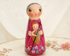 St. Elizabeth with John the Baptist Catholic Saint Doll - Wooden Toy - Made to Order