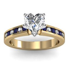 Channel set Blue Sapphire and Diamond Heart Engagement Ring in 18k Yellow Gold