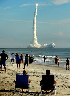 Cape Canaveral, FL - watching shuttles take off from the beach!